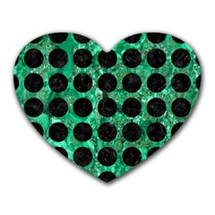 Circles1 Black Marble & Green Marble Heart Mousepad by trendistuff