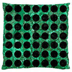 Circles1 Black Marble & Green Marble Large Cushion Case (one Side) by trendistuff