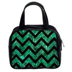 Chevron9 Black Marble & Green Marble (r) Classic Handbag (two Sides) by trendistuff