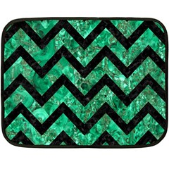 Chevron9 Black Marble & Green Marble (r) Fleece Blanket (mini) by trendistuff