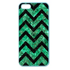 Chevron9 Black Marble & Green Marble (r) Apple Seamless Iphone 5 Case (color) by trendistuff