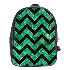 Chevron9 Black Marble & Green Marble (r) School Bag (xl) by trendistuff