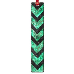 Chevron9 Black Marble & Green Marble (r) Large Book Mark by trendistuff