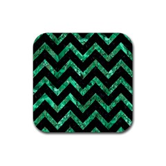 Chevron9 Black Marble & Green Marble Rubber Coaster (square) by trendistuff