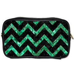 Chevron9 Black Marble & Green Marble Toiletries Bag (one Side) by trendistuff