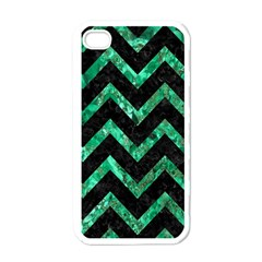 Chevron9 Black Marble & Green Marble Apple Iphone 4 Case (white) by trendistuff
