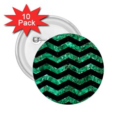 Chevron3 Black Marble & Green Marble 2 25  Button (10 Pack) by trendistuff