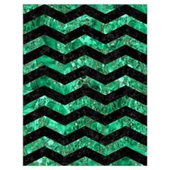 Chevron3 Black Marble & Green Marble Drawstring Bag (large) by trendistuff