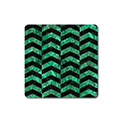 Chevron2 Black Marble & Green Marble Magnet (square) by trendistuff