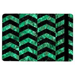Chevron2 Black Marble & Green Marble Apple Ipad Air Flip Case by trendistuff