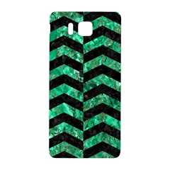 Chevron2 Black Marble & Green Marble Samsung Galaxy Alpha Hardshell Back Case by trendistuff