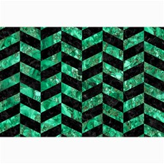 Chevron1 Black Marble & Green Marble Collage 12  X 18  by trendistuff