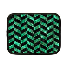 Chevron1 Black Marble & Green Marble Netbook Case (small) by trendistuff