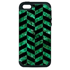 Chevron1 Black Marble & Green Marble Apple Iphone 5 Hardshell Case (pc+silicone) by trendistuff