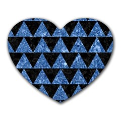 Triangle2 Black Marble & Blue Marble Heart Mousepad by trendistuff