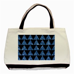 Triangle2 Black Marble & Blue Marble Basic Tote Bag (two Sides) by trendistuff