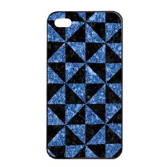 Triangle1 Black Marble & Blue Marble Apple Iphone 4/4s Seamless Case (black) by trendistuff