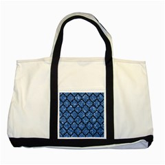Tile1 Black Marble & Blue Marble Two Tone Tote Bag by trendistuff