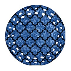 Tile1 Black Marble & Blue Marble Round Filigree Ornament (two Sides) by trendistuff