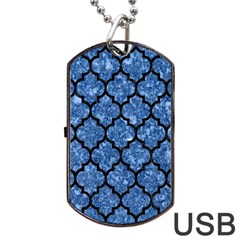 Tile1 Black Marble & Blue Marble Dog Tag Usb Flash (two Sides) by trendistuff