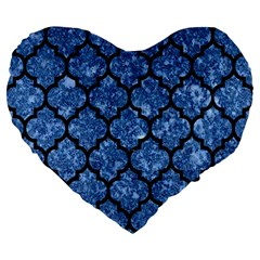 Tile1 Black Marble & Blue Marble Large 19  Premium Flano Heart Shape Cushion by trendistuff