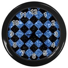 Square2 Black Marble & Blue Marble Wall Clock (black) by trendistuff