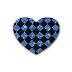 Square2 Black Marble & Blue Marble Rubber Heart Coaster (4 Pack) by trendistuff