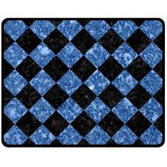 Square2 Black Marble & Blue Marble Double Sided Fleece Blanket (medium) by trendistuff