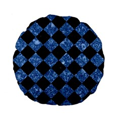 SQR2 BK-BL MARBLE Standard 15  Premium Flano Round Cushions by trendistuff