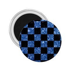 Square1 Black Marble & Blue Marble 2 25  Magnet by trendistuff