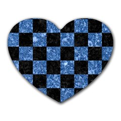 Square1 Black Marble & Blue Marble Heart Mousepad by trendistuff