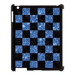 Square1 Black Marble & Blue Marble Apple Ipad 3/4 Case (black) by trendistuff