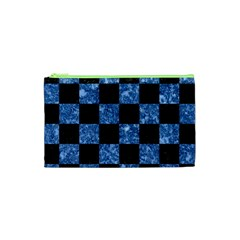 Square1 Black Marble & Blue Marble Cosmetic Bag (xs) by trendistuff