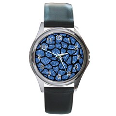 Skin1 Black Marble & Blue Marble (r) Round Metal Watch by trendistuff