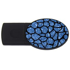 Skin1 Black Marble & Blue Marble (r) Usb Flash Drive Oval (2 Gb) by trendistuff