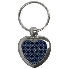 Scales3 Black Marble & Blue Marble (r) Key Chain (heart) by trendistuff