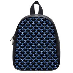 Scales3 Black Marble & Blue Marble (r) School Bag (small) by trendistuff