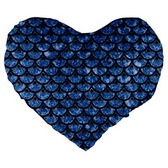 Scales3 Black Marble & Blue Marble Large 19  Premium Flano Heart Shape Cushion by trendistuff