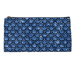 Scales2 Black Marble & Blue Marble Pencil Case by trendistuff