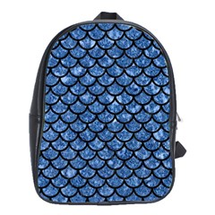 Scales1 Black Marble & Blue Marble School Bag (large) by trendistuff