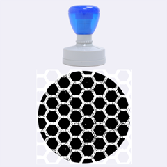 Hexagon2 Black Marble & Blue Marble (r) Rubber Stamp Round (large) by trendistuff