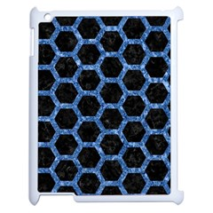 Hexagon2 Black Marble & Blue Marble (r) Apple Ipad 2 Case (white) by trendistuff