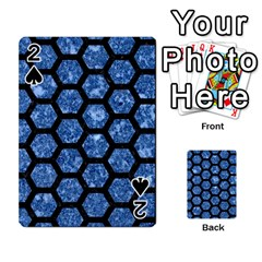 Hexagon2 Black Marble & Blue Marble Playing Cards 54 Designs by trendistuff