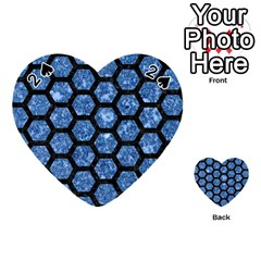 Hexagon2 Black Marble & Blue Marble Playing Cards 54 (heart) by trendistuff