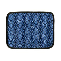 Hexagon1 Black Marble & Blue Marble Netbook Case (small) by trendistuff