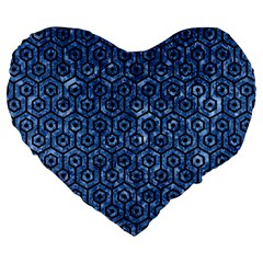 Hexagon1 Black Marble & Blue Marble Large 19  Premium Flano Heart Shape Cushion by trendistuff