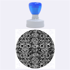 Damask2 Black Marble & Blue Marble (r) Rubber Stamp Round (large) by trendistuff