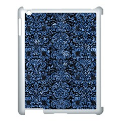 Damask2 Black Marble & Blue Marble (r) Apple Ipad 3/4 Case (white) by trendistuff