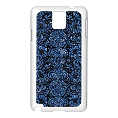 Damask2 Black Marble & Blue Marble (r) Samsung Galaxy Note 3 N9005 Case (white) by trendistuff