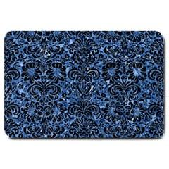 Damask2 Black Marble & Blue Marble Large Doormat by trendistuff